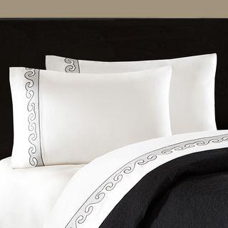 Artology Kalam 300 Thread Count White Embroidered Sheet Set