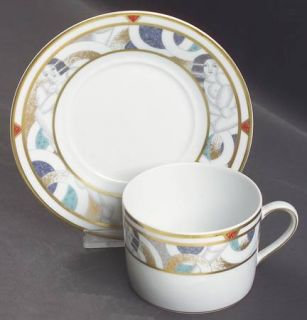 Bernardaud Paris (Geometric/Nudes) Flat Cup & Saucer Set, Fine China Dinnerware