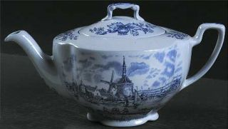 Johnson Brothers Tulip Time Blue (Blue Background) Teapot & Lid, Fine China Dinn