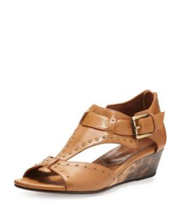 Womens Dama Studded Leather Wedge Sandal, Camel   Donald J Pliner