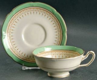 Royal Doulton Duke Of York Green (Scalloped) Footed Cup & Saucer Set, Fine China