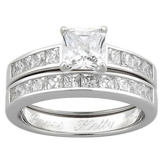 Sterling Silver Cubic Zirconia 2 piece Square Engraved Wedding Ring Set   8