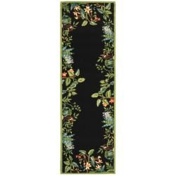 Hand hooked Chelsea Jungle Black Wool Rug (26 X 6)