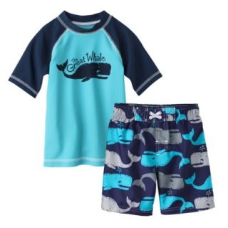 Circo Infant Toddler Boys Whale Rashguard and Swim Trunk Set   Blue 3T