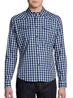 Eddys Keystone Plaid Western Shirt/Slim Fit   Blue Opal