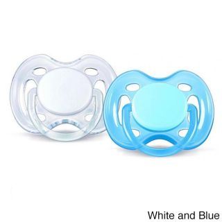 Philips Avent Freeflow 0 6 Months Pacifier (pack Of 2) (Blue/ white, pink/ whiteAge appropriate: 0 6 monthsMeasurements: 4.5 inches long x 4 inches wide x 2 inches highWeight: 0.1 poundsHow many pieces: Two (2) pacifierCare instructions: Wash with soap an