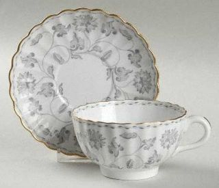 Spode Colonel Gray (Gold) Footed Cup & Saucer Set, Fine China Dinnerware   Gray