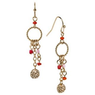 Womens Beaded and Metal Linear Drop Earring with Disc Charm   Pink/Orange/Gold