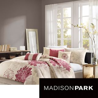 Madison Park Emily 7 piece Comforter Set (100 percent cottonFill material: 270g/m2 poly fillFace thread count: 200Backing thread count: 180Care instructions: Machine washQueen DimensionsComforter: 90 inches wide x 90 inches longSham: 20 inches wide x 26 i