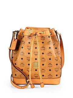 MCM Heritage Drawstring Shoulder Bag   Cognac