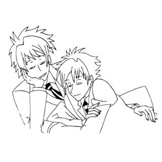 Two Guys Anime Vinyl Wall Art Decal (BlackDimensions: 22 inches wide x 35 inches long )