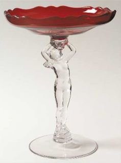 Cambridge Nudes Carmen (Ruby) 8 Cupped Comport   Stem 3011, Ruby Bowl, Sculpted