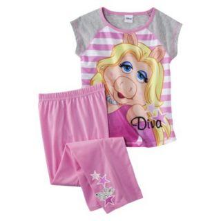 Sesame Street Miss Piggy Girls 2 Piece Short Sleeve Pajama Set   Pink/Gray S