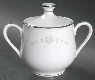 Sango Julie Sugar Bowl & Lid, Fine China Dinnerware   Gray Roses,White Scrolls,C