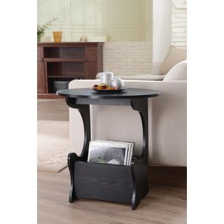 Furniture Of America Wallaby Accent Magazine Rack Modern Black Side Table (MDF, VeneersFinish: Black finishModern perfection with elegant curvesOval top with sufficient surfaceSturdy elegant, lateral curved supportsKangaroo inspired single pouch storage u