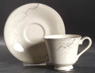 Royal Doulton Angela Footed Cup & Saucer Set, Fine China Dinnerware   Blue Branc