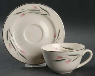 Edwin Knowles Carlton Flat Cup & Saucer Set, Fine China Dinnerware   Pink Flower