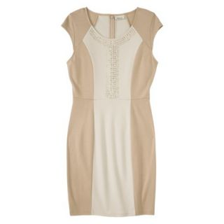 AMBAR Womens Ponte Dress w/ Studs   Honey L
