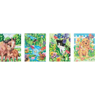 Pencil Works Color By Number Kit 9x12 4/pkg animal Friends (9x12. This pencil by number variety pack will provide hours of coloring fun! Perfect for animal lovers the kit contains four printed boards numbered charts 24 colored pencils and a sharpener. Be