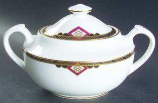 Spode Harvard Sugar Bowl & Lid, Fine China Dinnerware   Black And Gold Band, Red