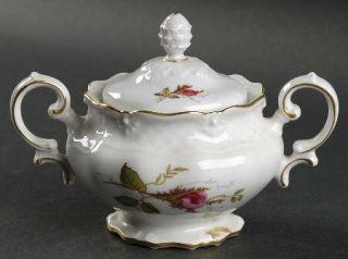 Royal Heidelberg Rose Brier (White) Sugar Bowl & Lid, Fine China Dinnerware   Mo