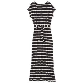 Merona Petites Short Sleeve V Neck Maxi Dress   Black/Cream MP