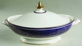 Royal Doulton Imperial Blue Oval Covered Vegetable, Fine China Dinnerware   Gold