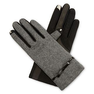 Isotoner Stretch Wool Touchscreen Gloves, Charcoal, Womens