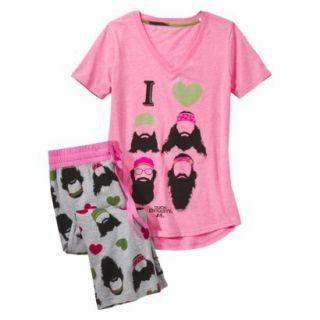 Duck Dynasty Juniors 2 Pc Pajama Set   Pink Print M