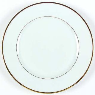 France Venda Fve2 Dinner Plate, Fine China Dinnerware   White, Gold Verge, 1/8