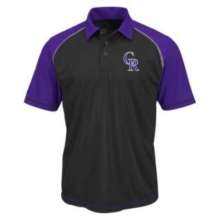 MLB Mens Colorado Rockies Synthetic Polo T Shirt   Black/Purple (L)