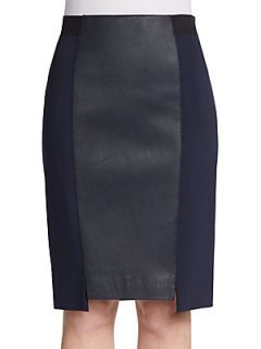 Heidi Leather Panel Skirt   Midnight
