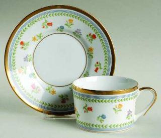 Christian Dior Millefleurs Flat Cup & Saucer Set, Fine China Dinnerware   Multif