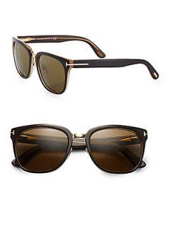 Tom Ford Eyewear Rock Acetate Oval Wayfarer Sunglasses   Black Brown