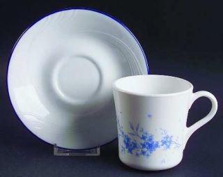 Corning Celestial Blue Flat Cup & Saucer Set, Fine China Dinnerware   Corelle,Sw