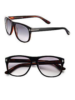 Tom Ford Eyewear Olivier Oversized Wayfarer Inspired Acetate Sunglasses   Black