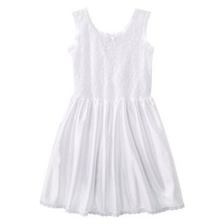 Girls Lace Nylon Full Slip   White 6