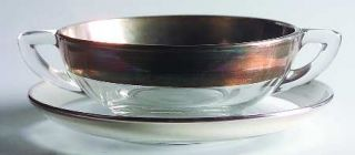 Dorothy Thorpe Silver Band Cream Soup and Saucer Set   Wide 1 Silver Band,V Sha
