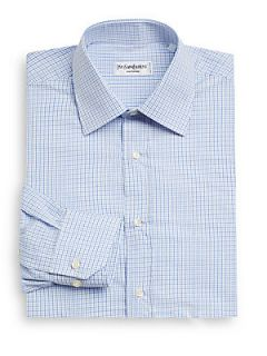 Small Checked Cotton Dress Shirt   Blue