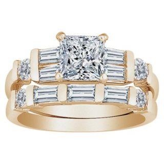 GoldPlated Princess cut CZ Wedding Set