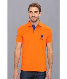 U.S. Polo Assn Slim Fit Big Horse Polo w/ Stripe Collar Mens Short Sleeve Pullover (Orange)