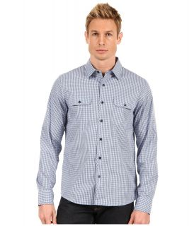 Michael Kors Collection Lennox Check BB Pocket Shirt Mens Long Sleeve Button Up (Navy)
