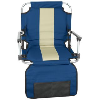 Stansport Blue/ Tan Stripe Armed Stadium Seat (Blue/tanFolds compactlySecure snapping locksConvenient shoulder strapLower pocket hangs to organize event day materialsSteel hook on bottom keeps your seat securely attached to bleachersLarge pocket on backre