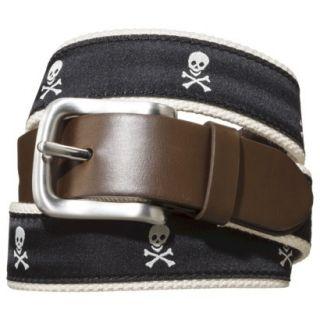 Merona Mens Fabric Belt   Black Skulls L
