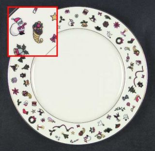Taitu Noel Dinner Plate, Fine China Dinnerware   Christmas Objects On Rim,Cream