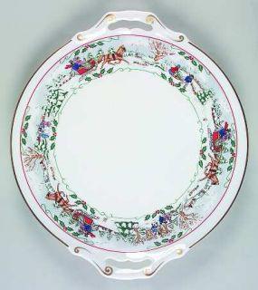 Royal Worcester Village Christmas Handled Cake Plate, Fine China Dinnerware   Po