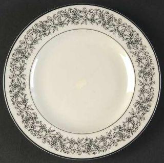 Belcrest Donna Marie Bread & Butter Plate, Fine China Dinnerware   Black Floral