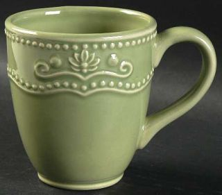 Jaclyn Smith Scalloped Floral Green Mug, Fine China Dinnerware   Traditions,Gree