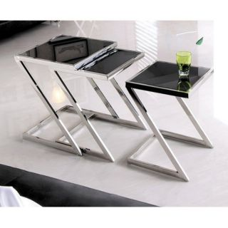 Armen Living Halo Nesting Tables   Stainless Steel with Glass Top   Set of 3
