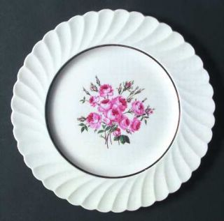 Newport Allison Dinner Plate, Fine China Dinnerware   Pink Floral Center, Swirl